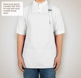 Stain Release Medium Length Apron - Screen Printed - Color: White