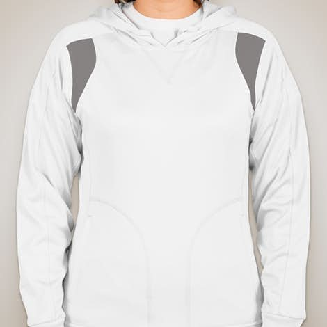 Team 365 Ladies Contrast Performance Pullover Hoodie - White / Sport Graphite