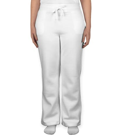 Gildan Ladies Open Bottom Sweatpants - White
