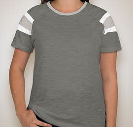 Augusta Ladies Fanatic T-shirt - Color: Slate / Athletic Heather / White
