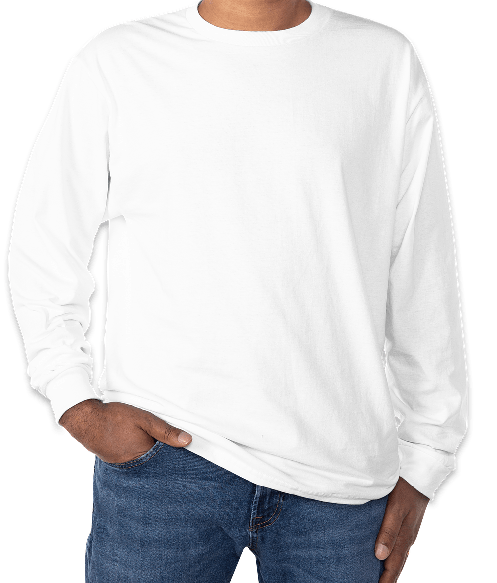 White t shirt gildan 100 cotton long sleeve tshirt white for White cotton long sleeve t shirt