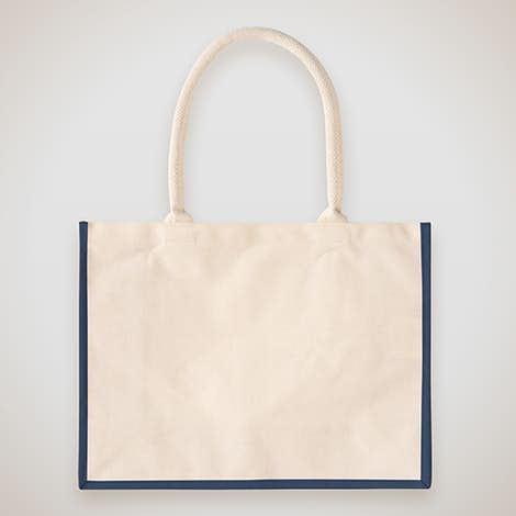 Cotton Landscape Shopper Tote - Natural / Navy