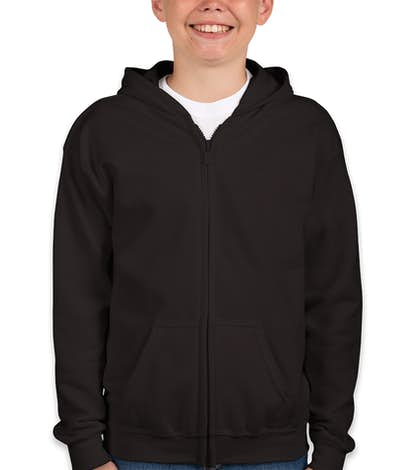 Gildan Youth Midweight Zip Hoodie - Black