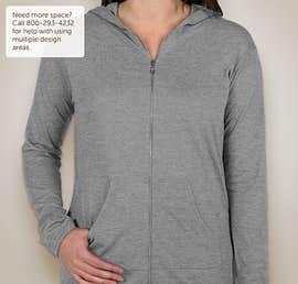 Anvil Ladies Tri-Blend Full Zip T-shirt Hoodie - Color: Heather Grey