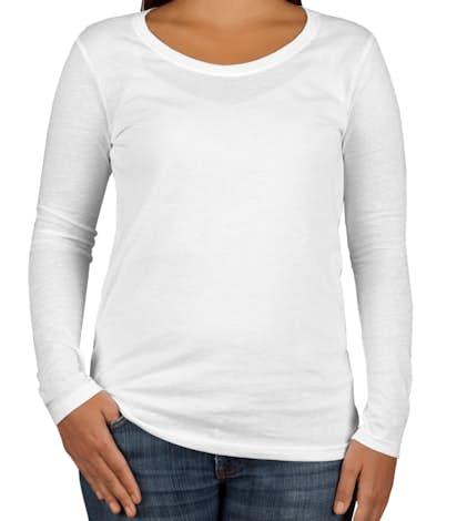 Anvil Ladies Lightweight Scoop Neck Long Sleeve T-shirt - White