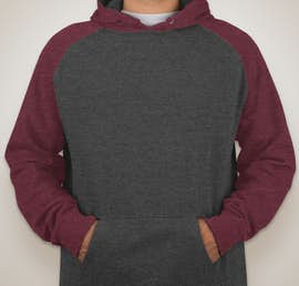 Independent Trading Heather Raglan Pullover Hoodie - Color: Charcoal Heather / Burgundy Heather