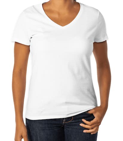 Hanes Ladies V-Neck Nano-T - White