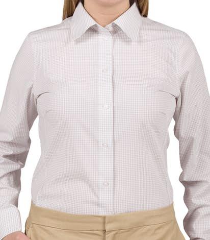 Devon & Jones Ladies Gingham Dress Shirt - Silver