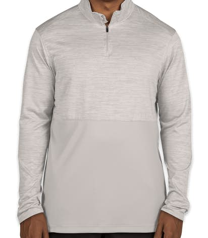 Augusta Tonal Heather Quarter Zip Performance Shirt - Silver