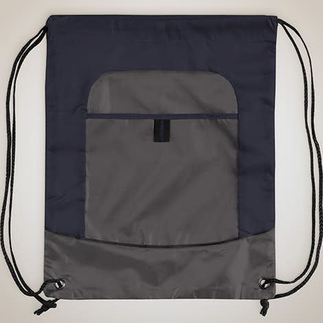 Port Authority Pocket Drawstring Bag - True Navy / Deep Smoke