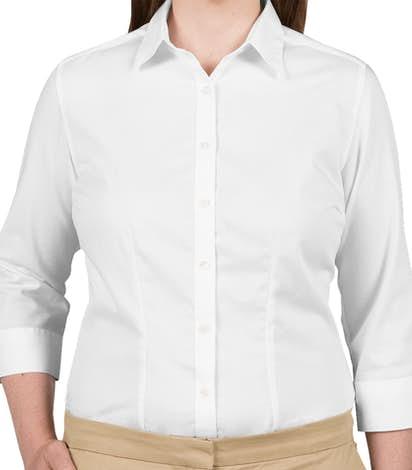 Van Heusen Ladies 3/4 Sleeve Baby Twill Dress Shirt - White