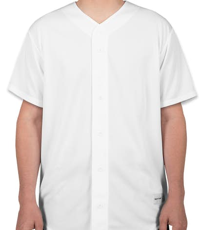 Sport-Tek Tough Mesh Full Button Baseball Jersey - White
