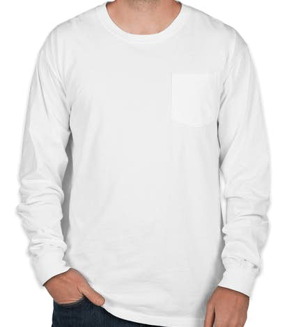 Design comfort colors long sleeve pocket t shirt online at for Custom t shirt with pocket