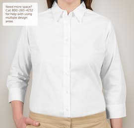 Port Authority Ladies 3/4 Sleeve Easy Care Twill Shirt - Color: White