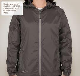 Eddie Bauer Ladies Full Zip Hooded Packable Jacket - Color: Grey Steel