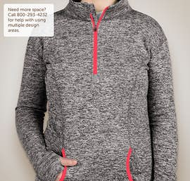 J. America Ladies Cosmic Quarter Zip Performance Pullover - Color: Charcoal Fleck / Fire Coral