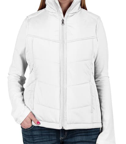 Port Authority Ladies Puffy Vest - White / Dark Slate