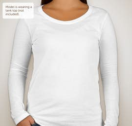 Anvil Ladies Lightweight Scoop Neck Long Sleeve T-shirt - Color: White