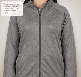 Devon & Jones Ladies Heather Performance Full Zip - Color: Dark Grey Heather