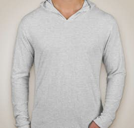 Next Level Tri-Blend Hooded Long Sleeve T-shirt - Color: Heather White