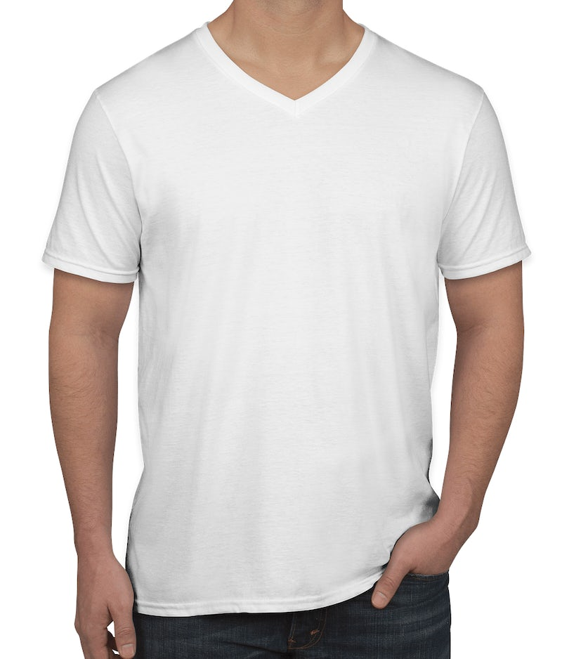 Custom gildan softstyle jersey v neck t shirt design for V neck t shirts with designs