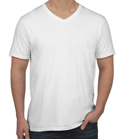 Canada - Gildan Softstyle Jersey V-Neck T-shirt - White