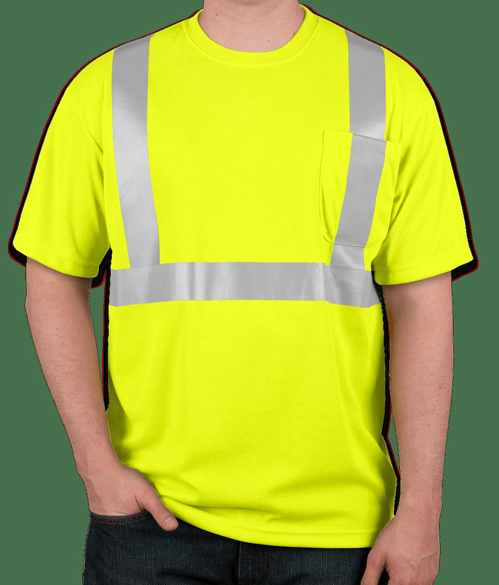 Safety Yellow Shirts >> Custom Cornerstone Class 2 Performance Safety Pocket Shirt Design