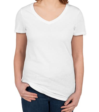Threadfast Juniors Lightweight V-Neck Pigment Dyed T-shirt - White