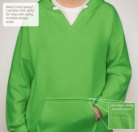 J. America Ladies V-Neck Pullover Hoodie - Color: Lime