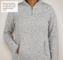 Charles River Ladies Quarter Zip Sweater Fleece Pullover - Color: Light Grey Heather
