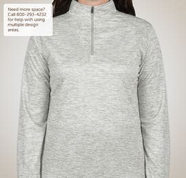 Badger Ladies Heather Quarter Zip Performance Shirt - Color: Silver