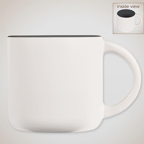 14 oz. Ceramic Two-Tone White Minolo Mug - White / Storm Grey