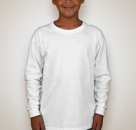 Canada - Gildan Youth Ultra Cotton Long Sleeve T-shirt - Color: White