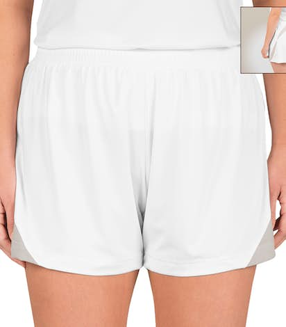 Team 365 Ladies Colorblock Performance Shorts - White / Sport Silver