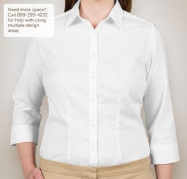 Van Heusen Ladies 3/4 Sleeve Baby Twill Dress Shirt - Color: White