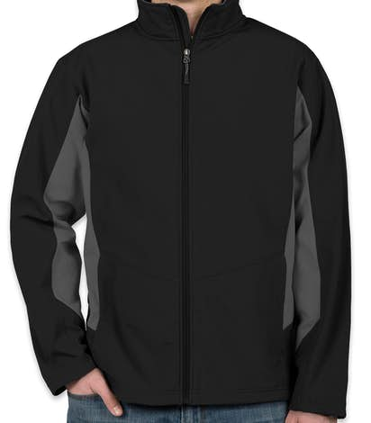 Port Authority Colorblock Soft Shell Jacket - Black / Battleship Grey