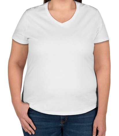 Hanes Ladies Just My Size Plus V-Neck T-shirt - White