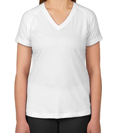 Sport-Tek Ladies Ultimate V-Neck Performance Shirt - White