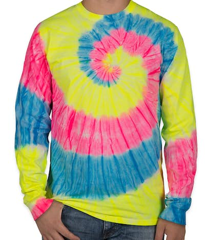 Port & Company Tie-Dye Long Sleeve T-shirt - Neon Rainbow