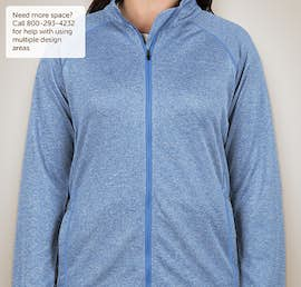 Devon & Jones Ladies Heather Performance Full Zip - Color: French Blue Heather