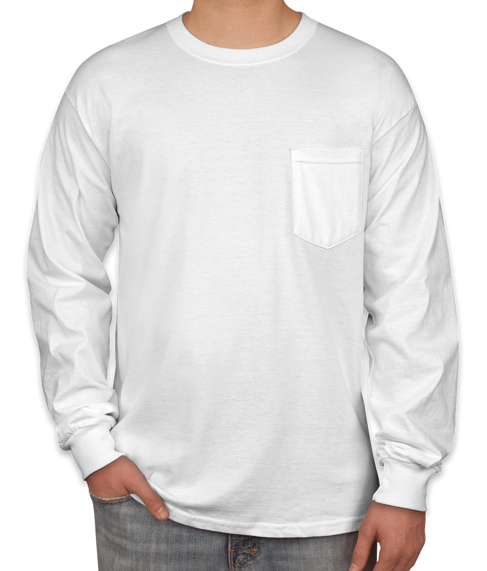 Custom Gildan Ultra Cotton Long Sleeve Pocket T-shirt - Design ...
