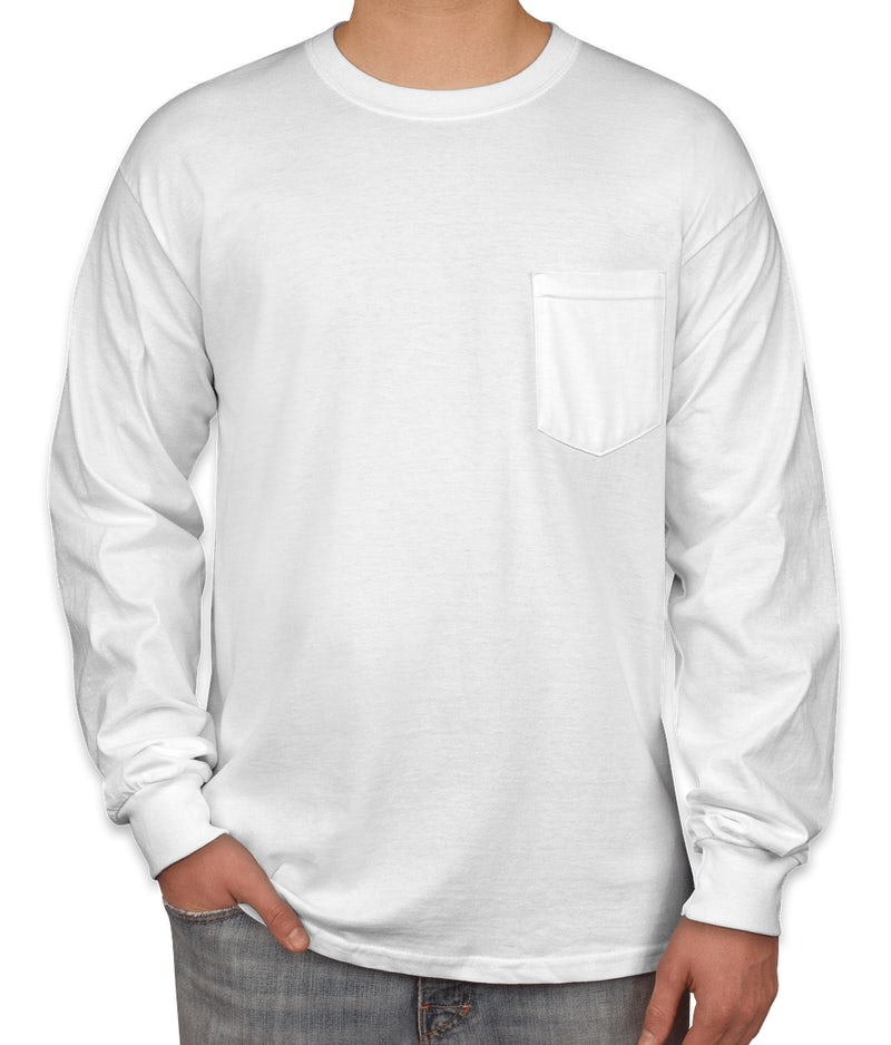 Custom gildan ultra cotton long sleeve pocket t shirt for T shirts online custom