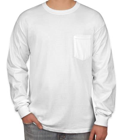 Custom gildan ultra cotton long sleeve pocket t shirt for Long sleeve t shirts design