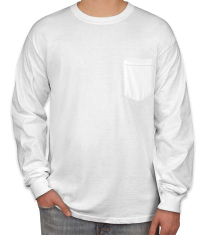Gildan Ultra Cotton Long Sleeve Pocket T-shirt - White