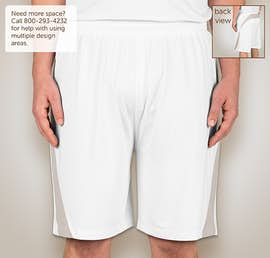 Team 365 Colorblock Performance Shorts - Color: White / Sport Silver