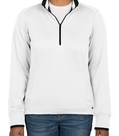 Nike Golf Ladies Dri-FIT Half Zip Performance Pullover - White / Black