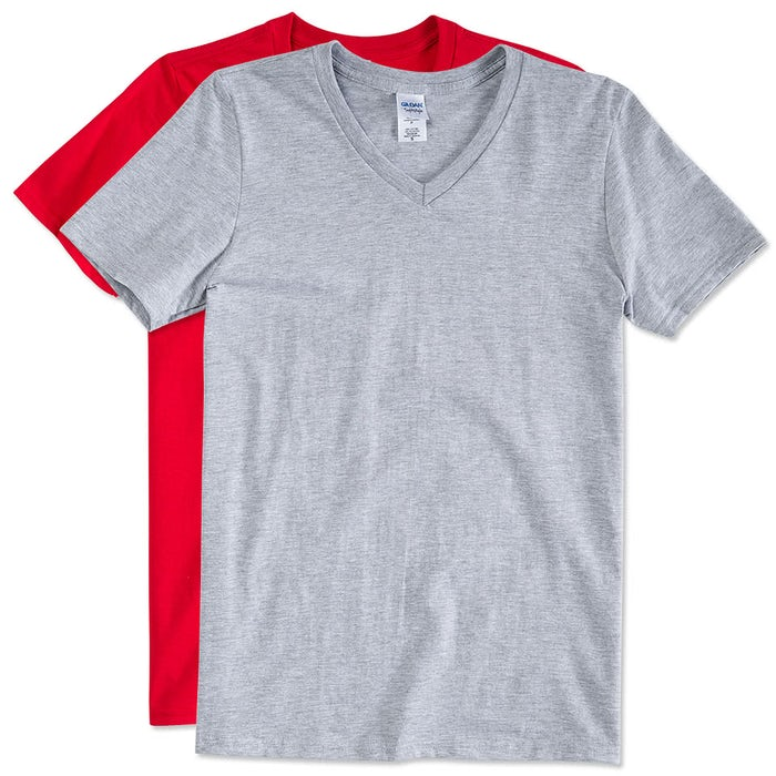 Custom Gildan Softstyle Jersey V-Neck T-shirt - Design Short Sleeve ...