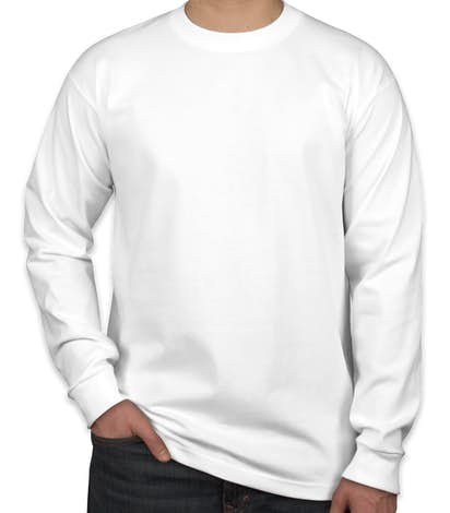 Bayside 100% Cotton USA Long Sleeve T-shirt - White
