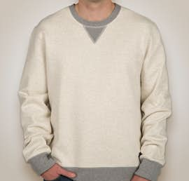 Champion Authentic Sueded Fleece Crewneck Sweatshirt - Color: Oatmeal Heather / Oxford Grey