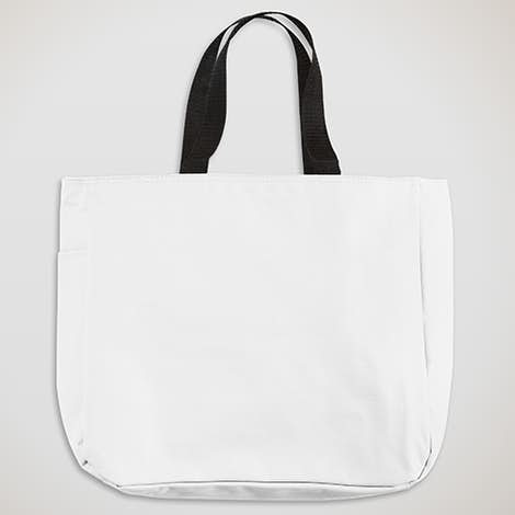 Durable Side Pocket Poly Canvas Tote - White